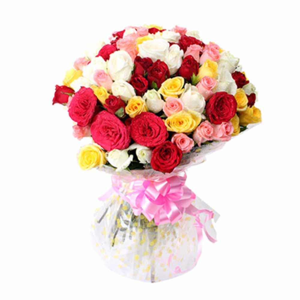 Bunch of 50 Mix Rose For Valentine Day