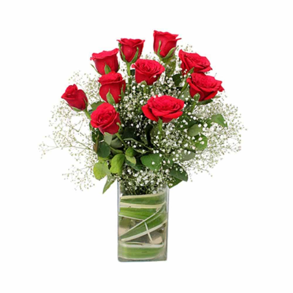 Glass Vase Arrangement of Ten Red Roses For Valentine