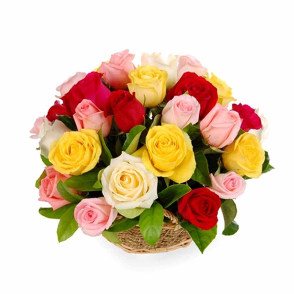 Colorful Fusion of Roses Valentine Basket