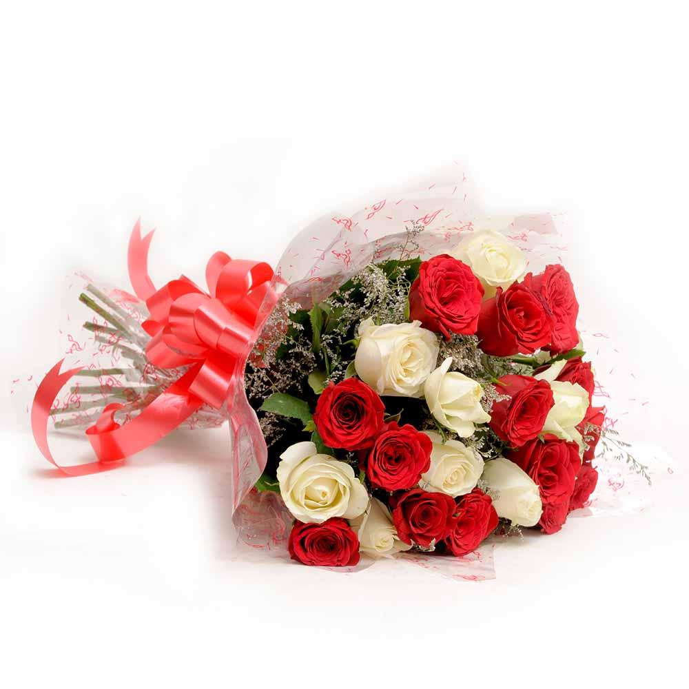 Valentine Roses-Red N White Roses