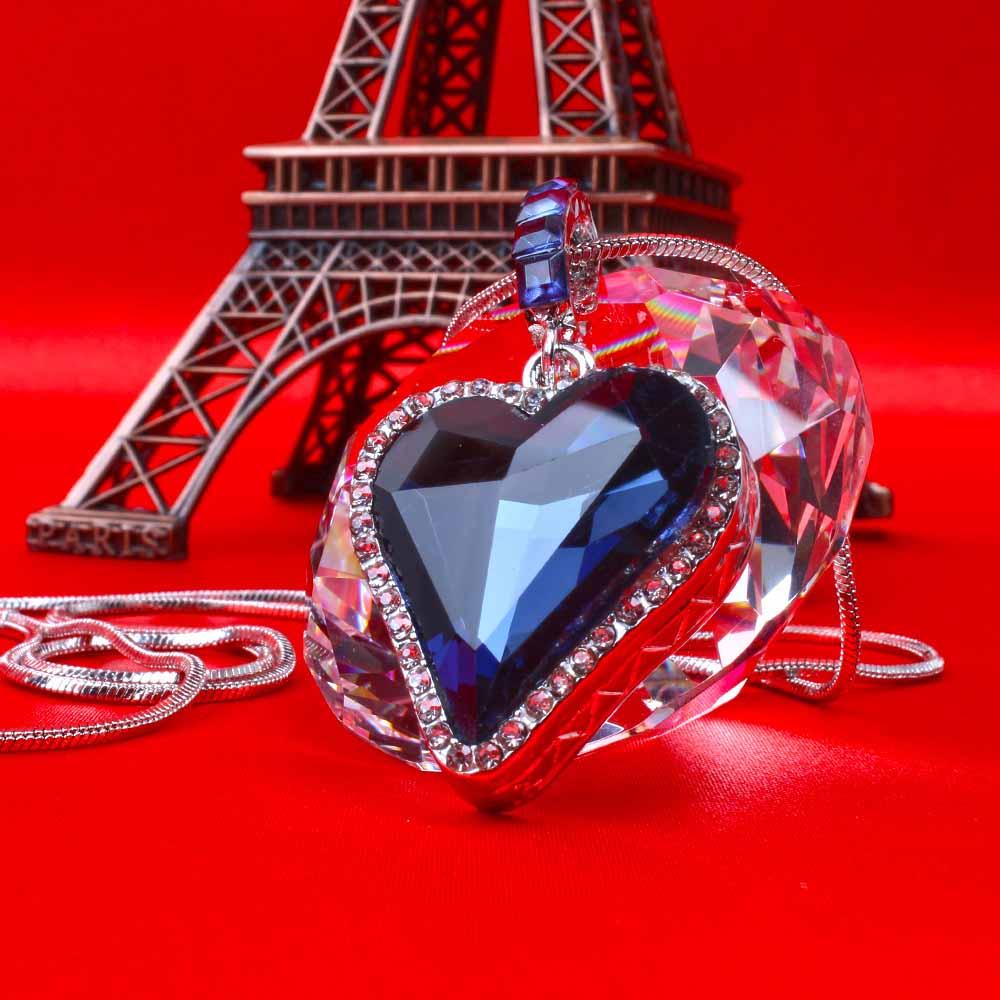 Sapphire Blue Love Heart Chain Pendant