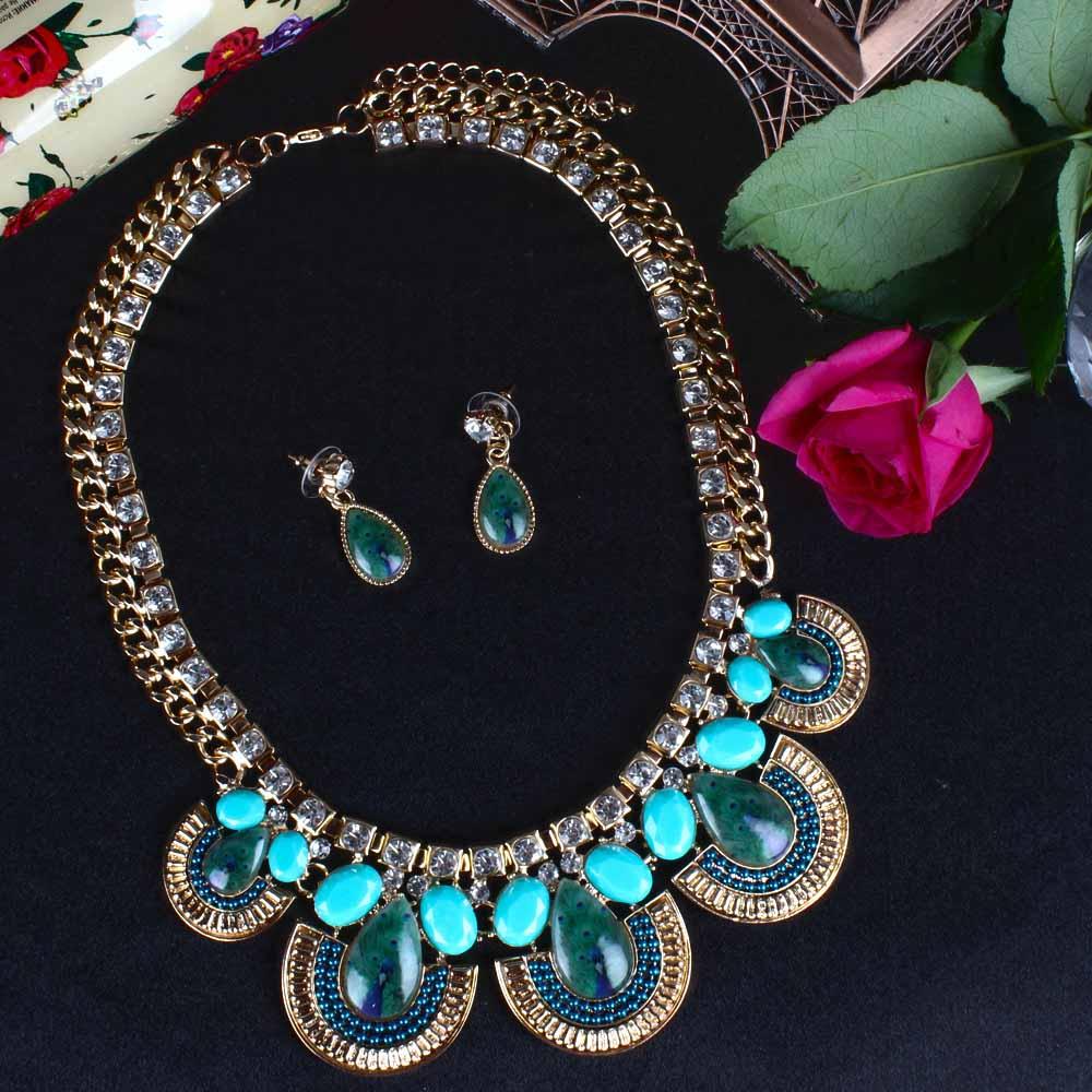 Peacock Print Drops Necklace Set