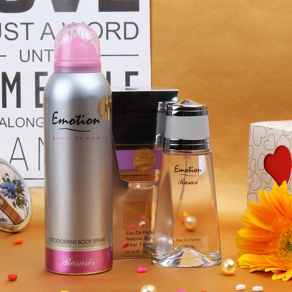 Rasasi Emotion Perfume and Deodorant Combo For Women