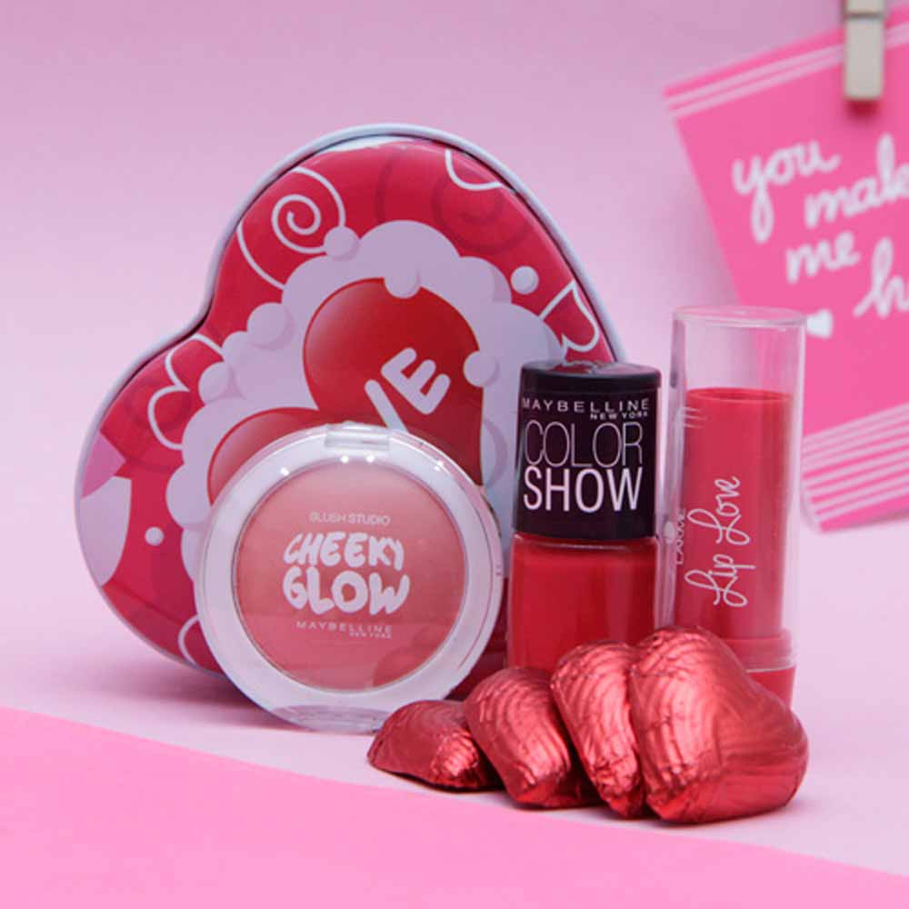 Maybelline blush nail color and chocolates in a box