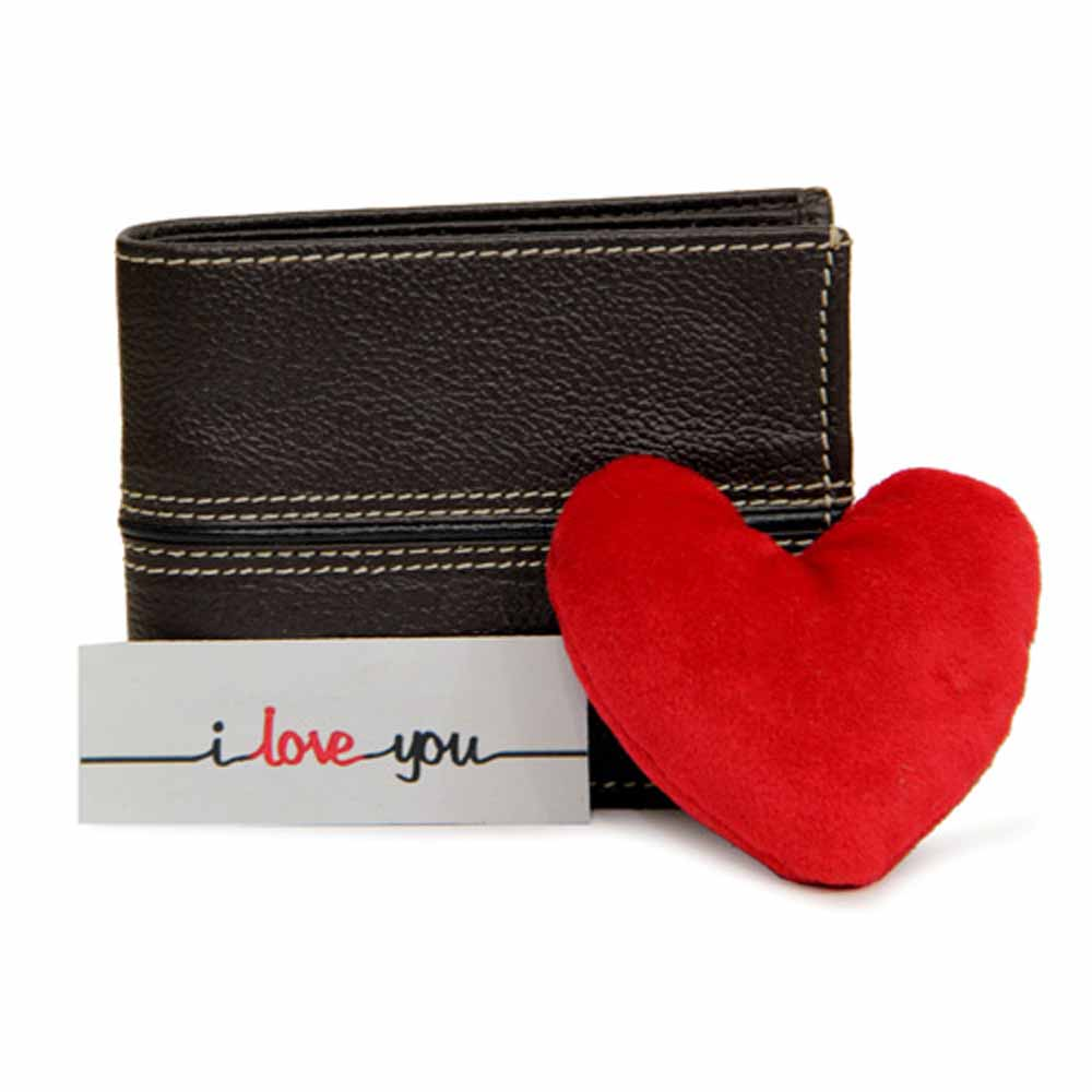 Leather Wallet N Heart Cushion