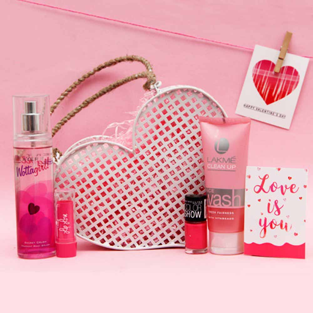 Wottagirl Perfume Lip Love and Nail Color in a Basket