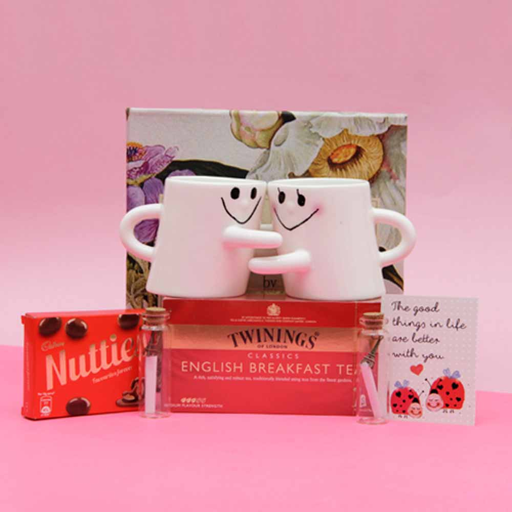 White Printed Ceramic Mugs With Tea Pack and Message in Bottles