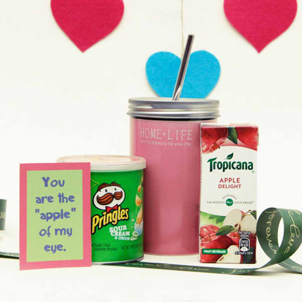 Tropicana Juice Box With Pringles and Tumbler