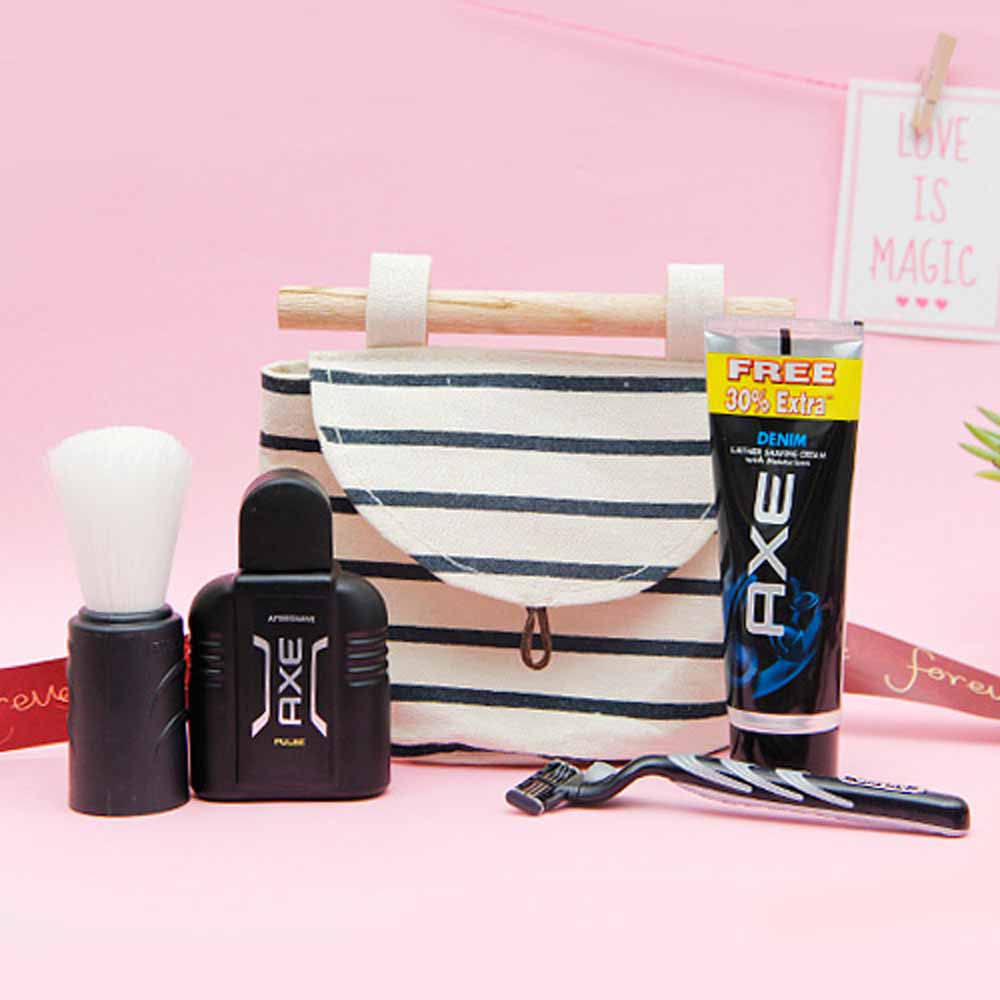 Shaving essentials in a pouch