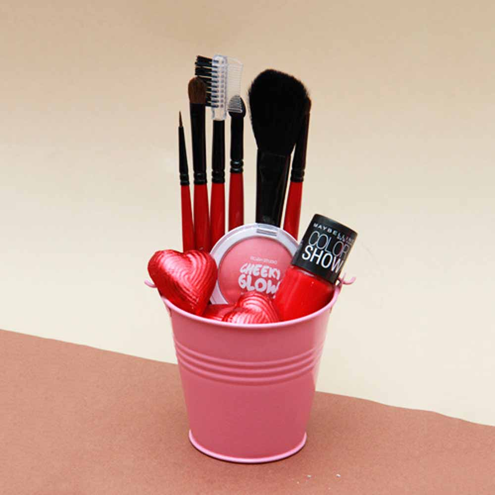 Make Up Brushes With Chocolates in a Bucket
