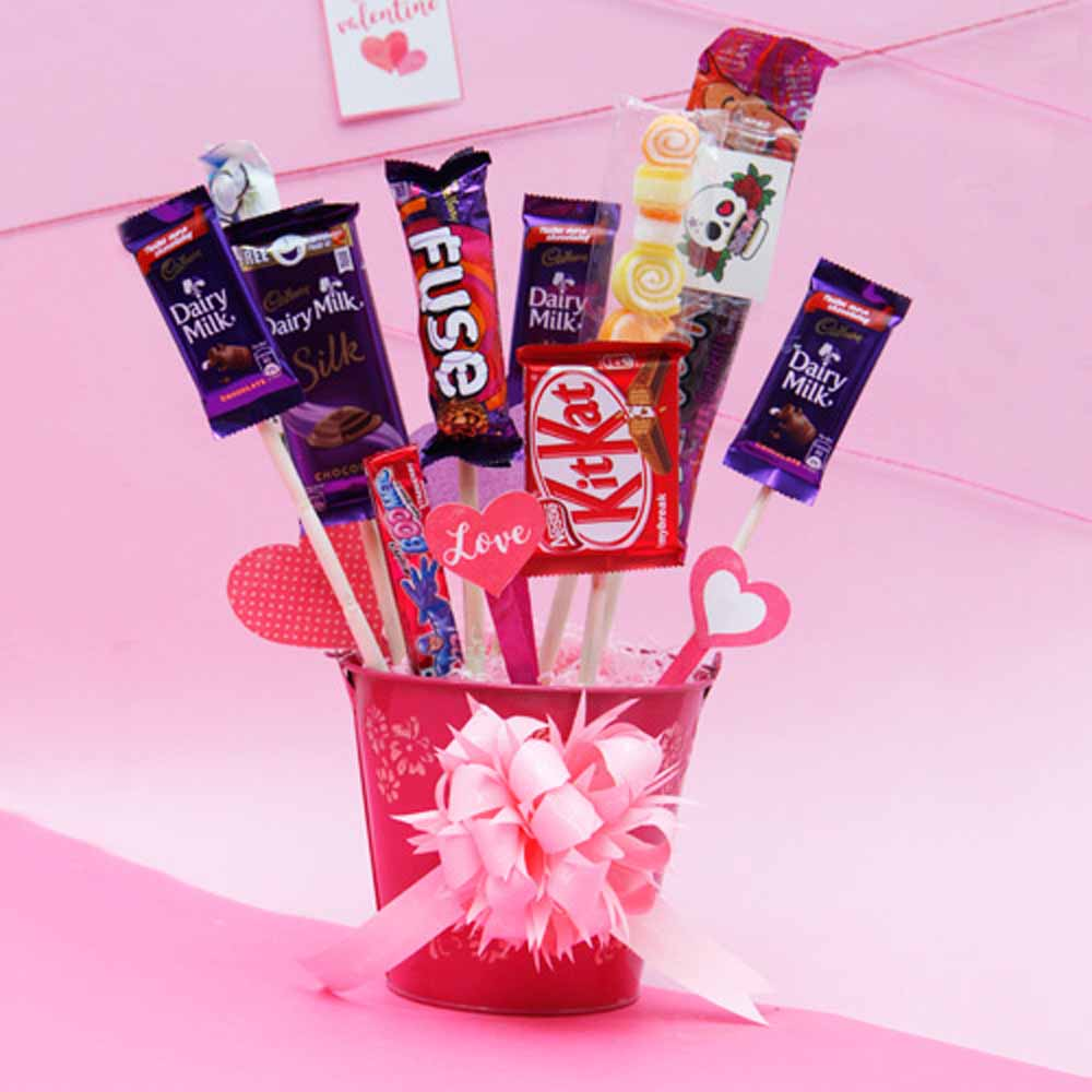 Chocolates and Heart Tags in a Bucket
