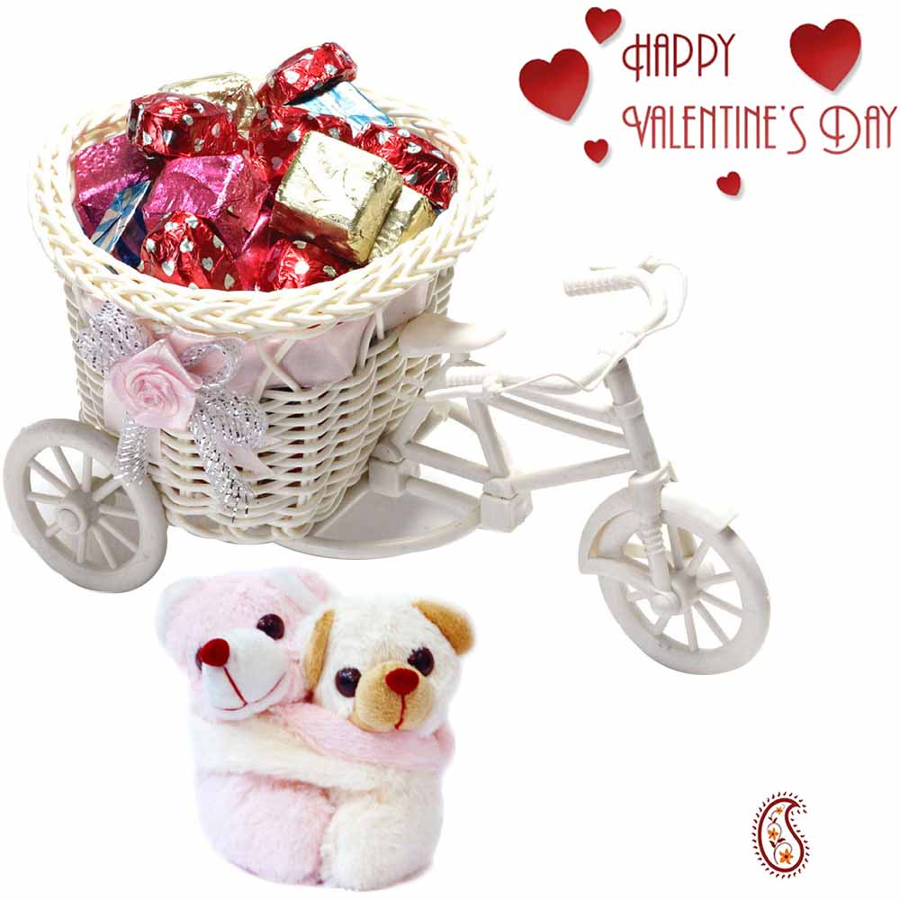 Smart cane cycle Basket with Homemade Chocolates