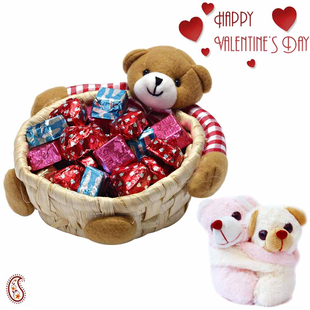Teddy Bear Cane Basket with Home made chocolates