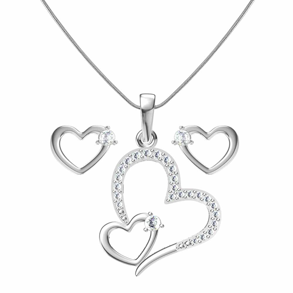 Heart In Heart Pendant Set