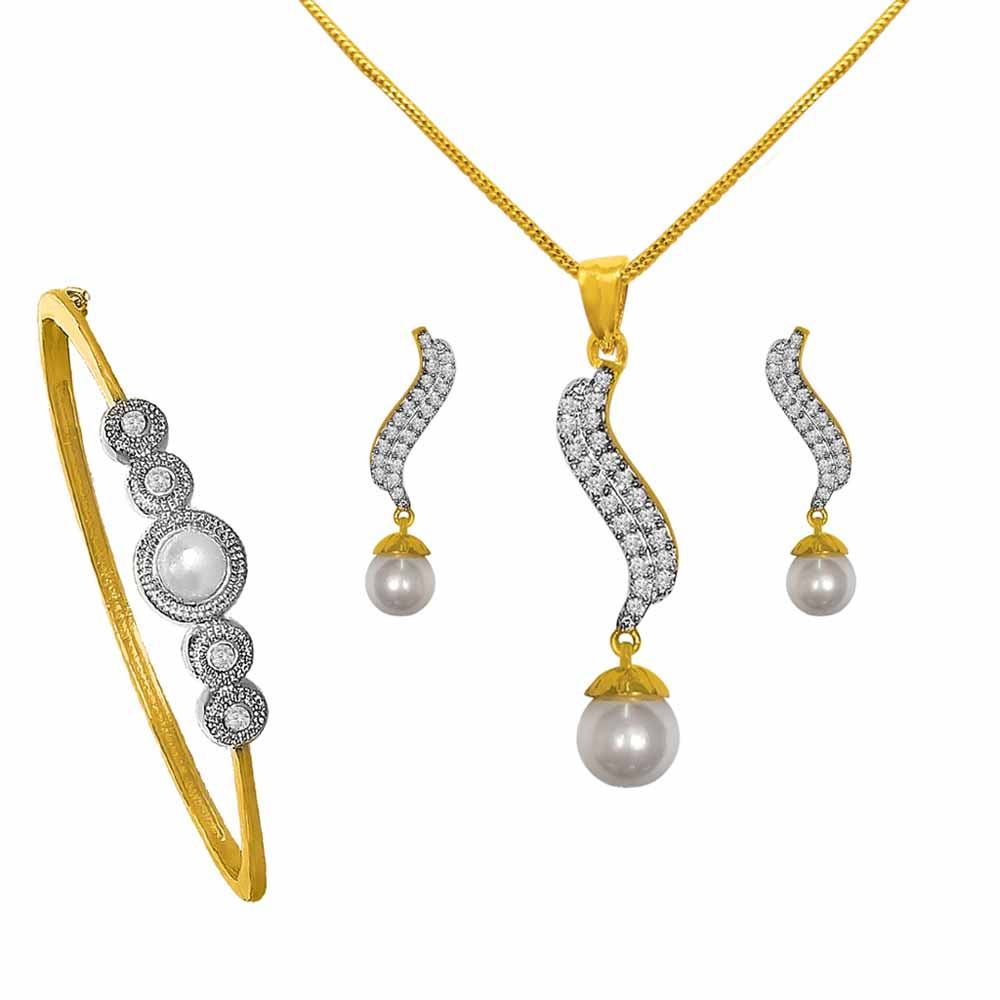 Valentines Special Gold Plated Cz Pearl Combo