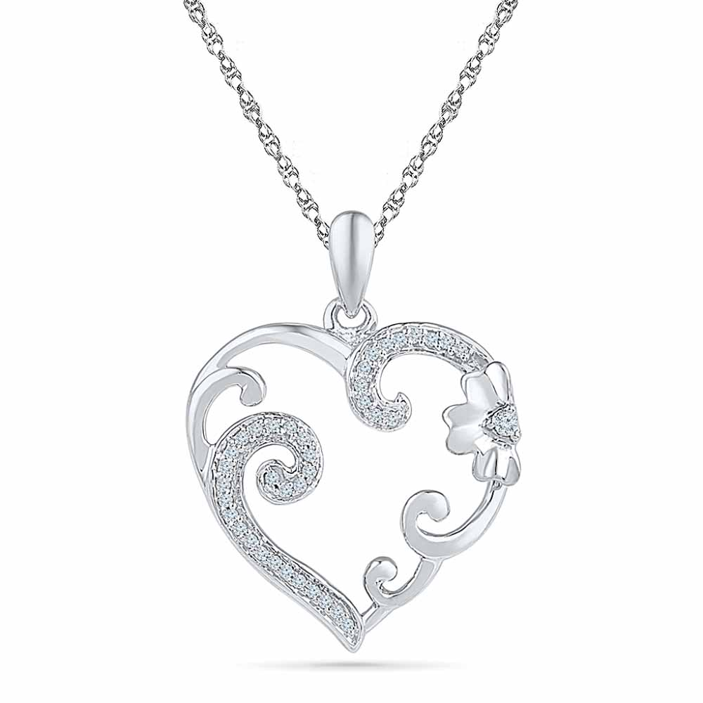 Flower Heart Diamond Pendent