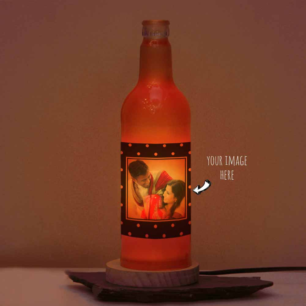Romantic Photo Printed Personalized Red Bottle Lamp