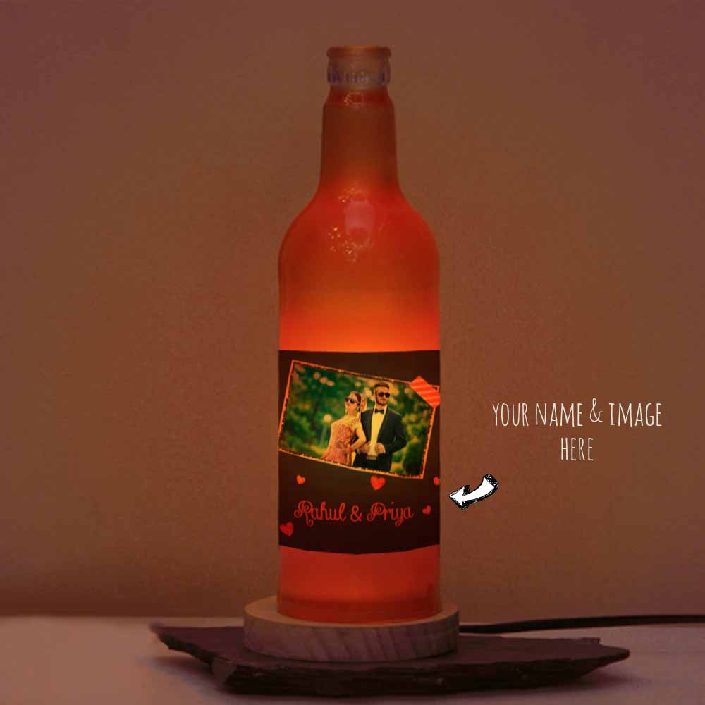 Happy Valentine Romantic Photo Printed Personalized Bottle Lamp