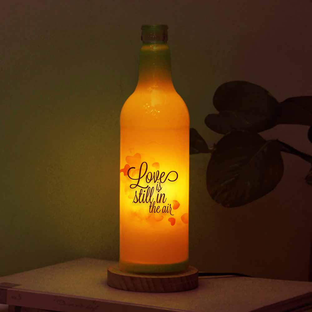 Romantic Photo and Love Quote Printed Personalized Bottle Lamp