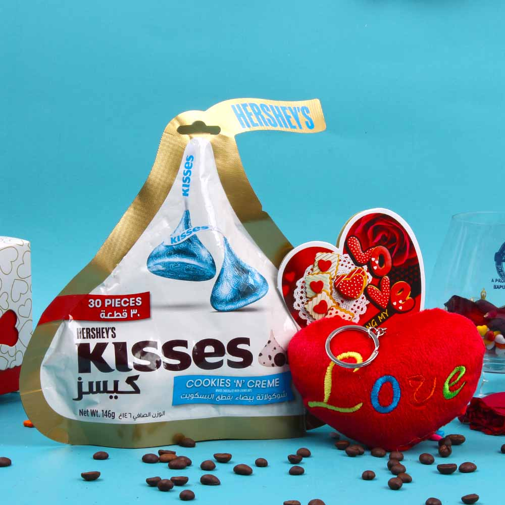 Special Valentine Gift of Hersheys Kisses Chocolate and Love Key Chain