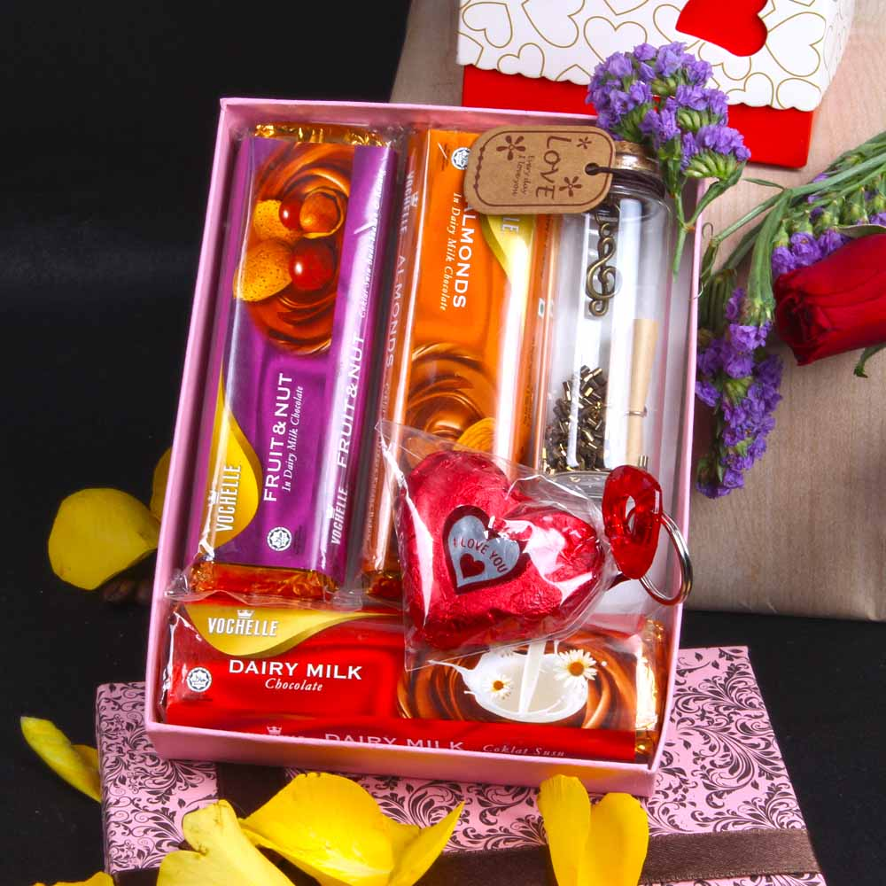 Vochelle and Heart Shape Chocolate Message of Love Combo