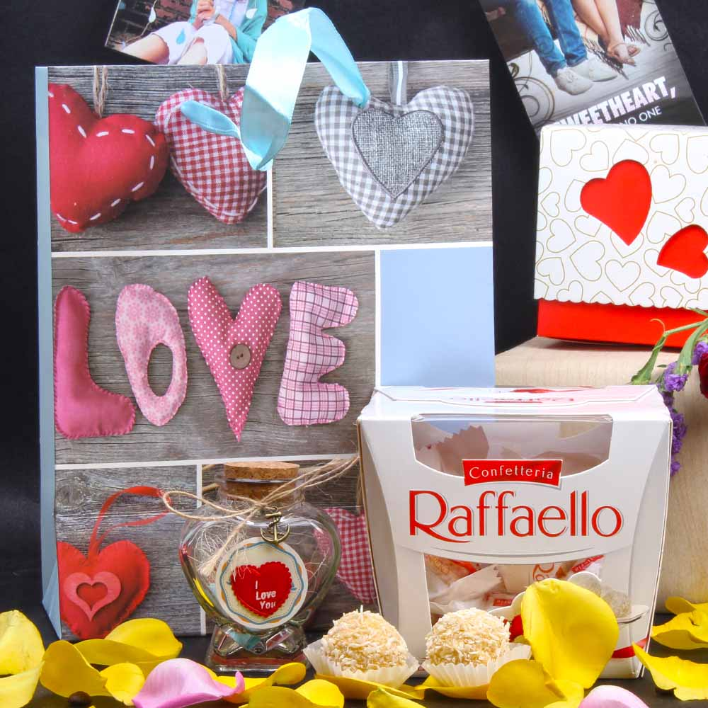 Raffaello Chocolate and Personalized Message Love Bottle Hamper