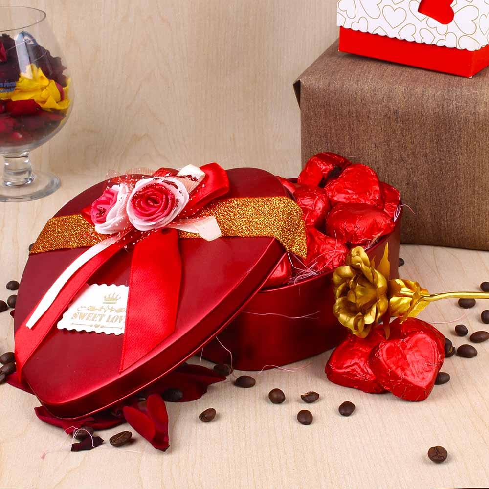 Valentines Hamper of Heart Shape Chocolates and Golden Rose
