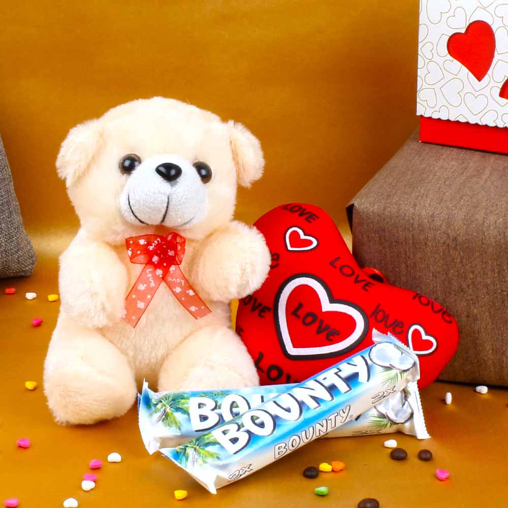 Teddy Bear with Love Heart and Bounty Chocolates For Valentine Day