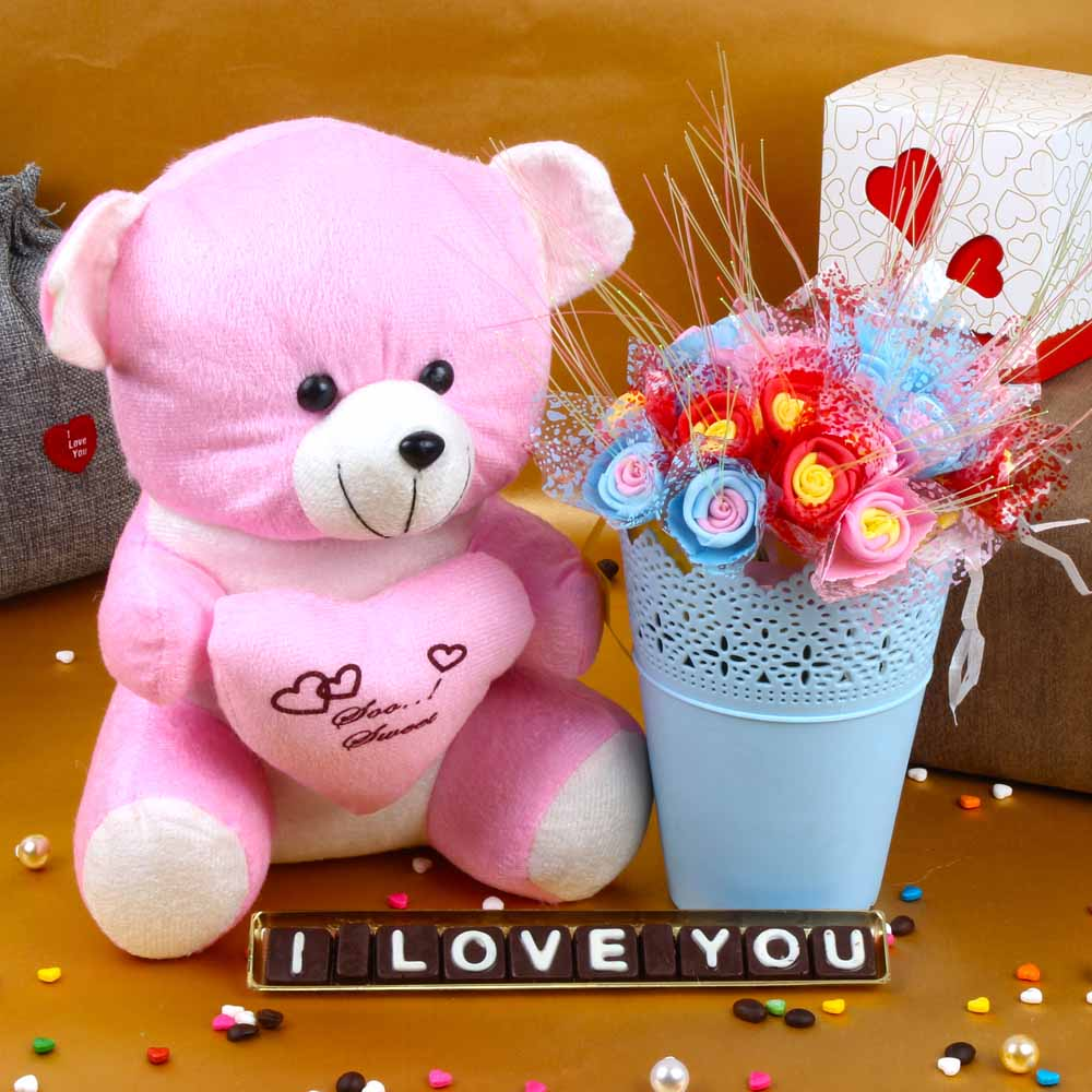 Teddy Bear Holding Heart with I Love You Chocolates and Decorative Roses Basket