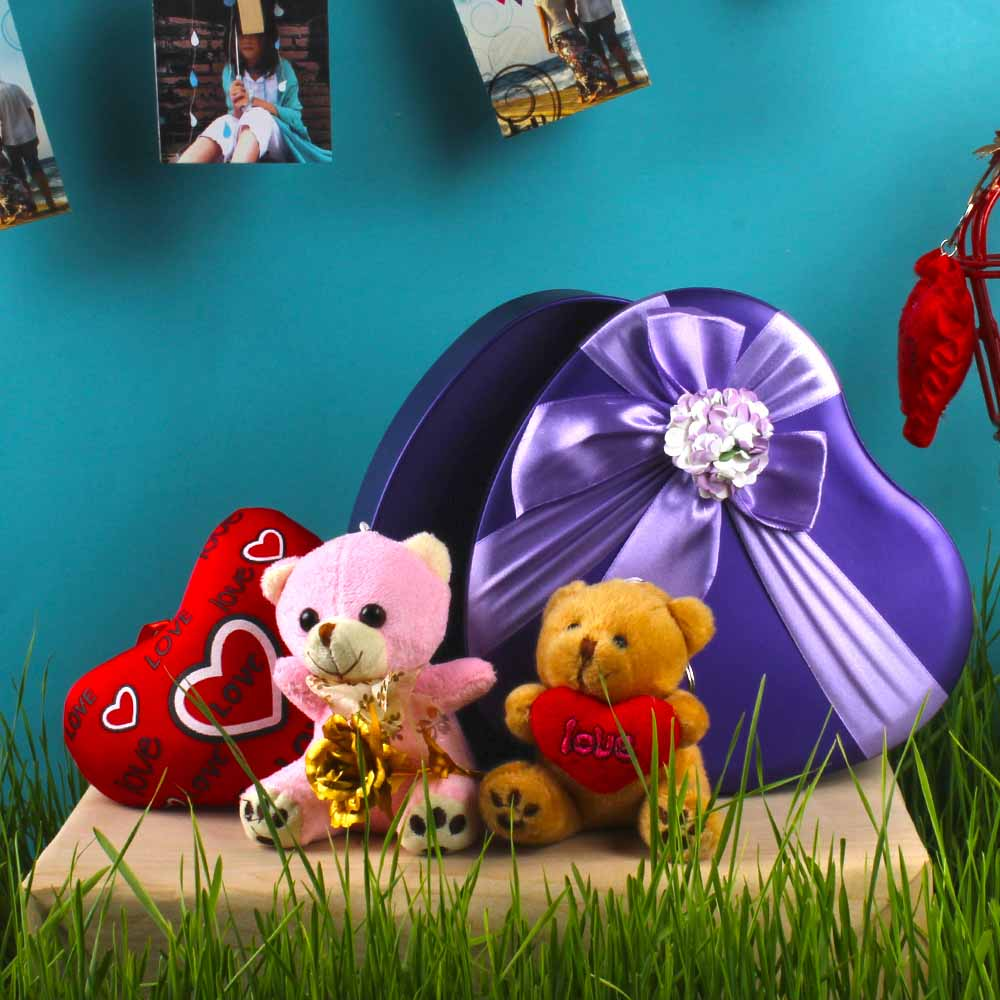 Soft Toys in a Heart Shape Gift Box with Gold Plated Rose