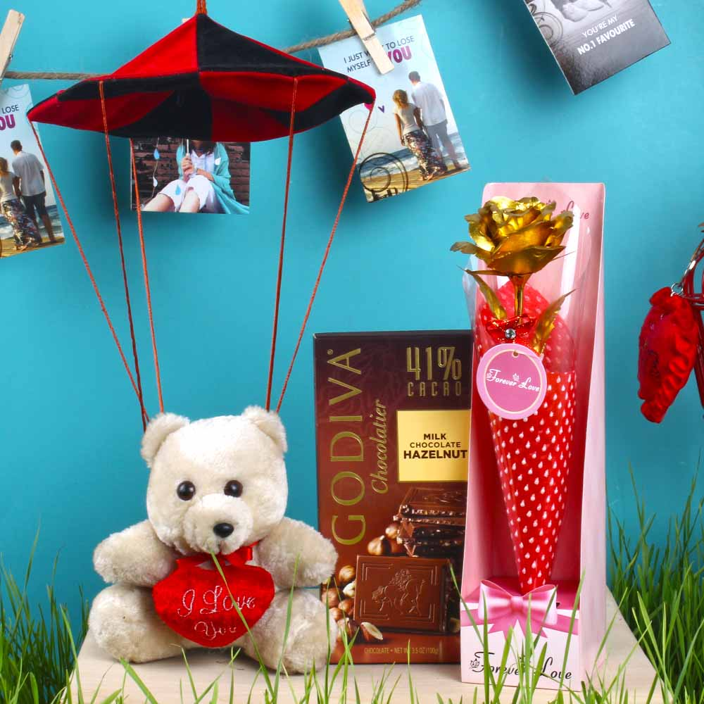 Parachute Hanging Teddy with Godiva Chocolate and Gold Plated Rose for Love Forever