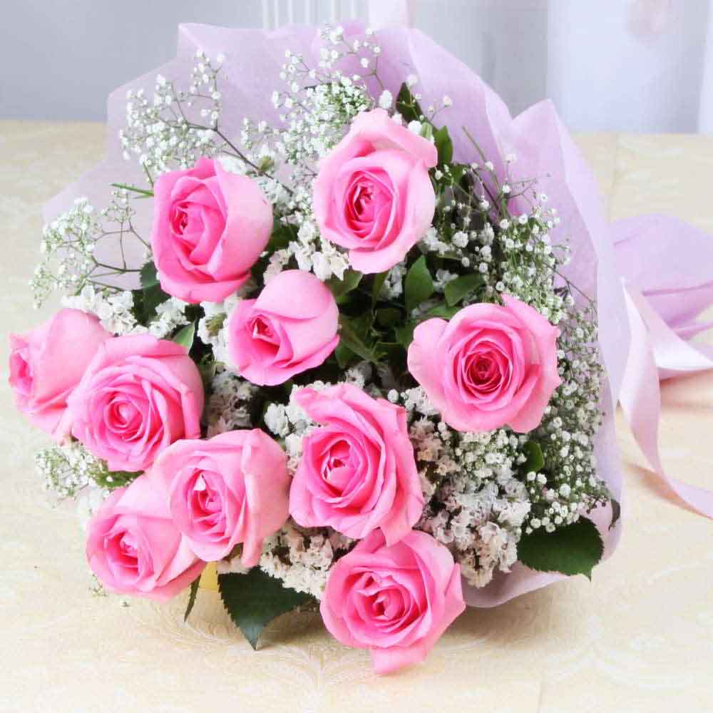 Fresh Flowers-Ten lovely Pink Roses Bouquet