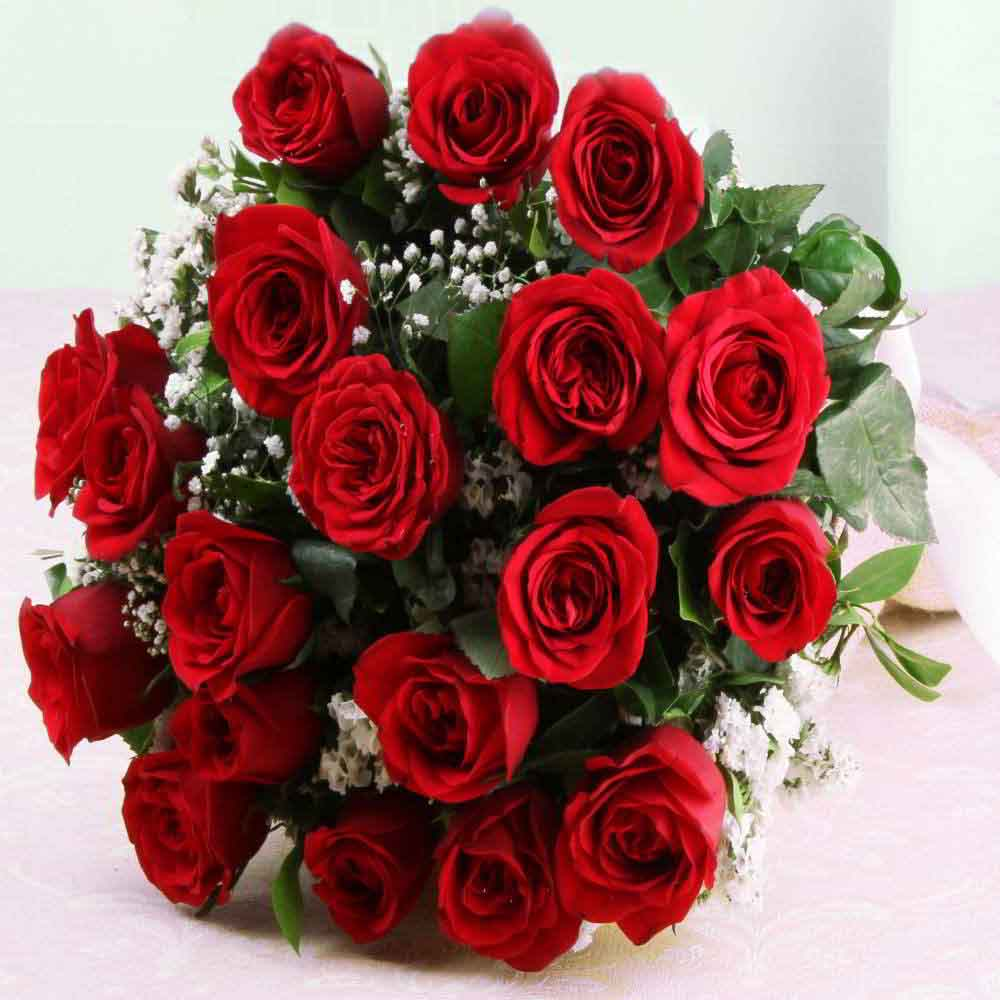 Fresh Flowers-Ravishing Twenty Red Roses Bouquet