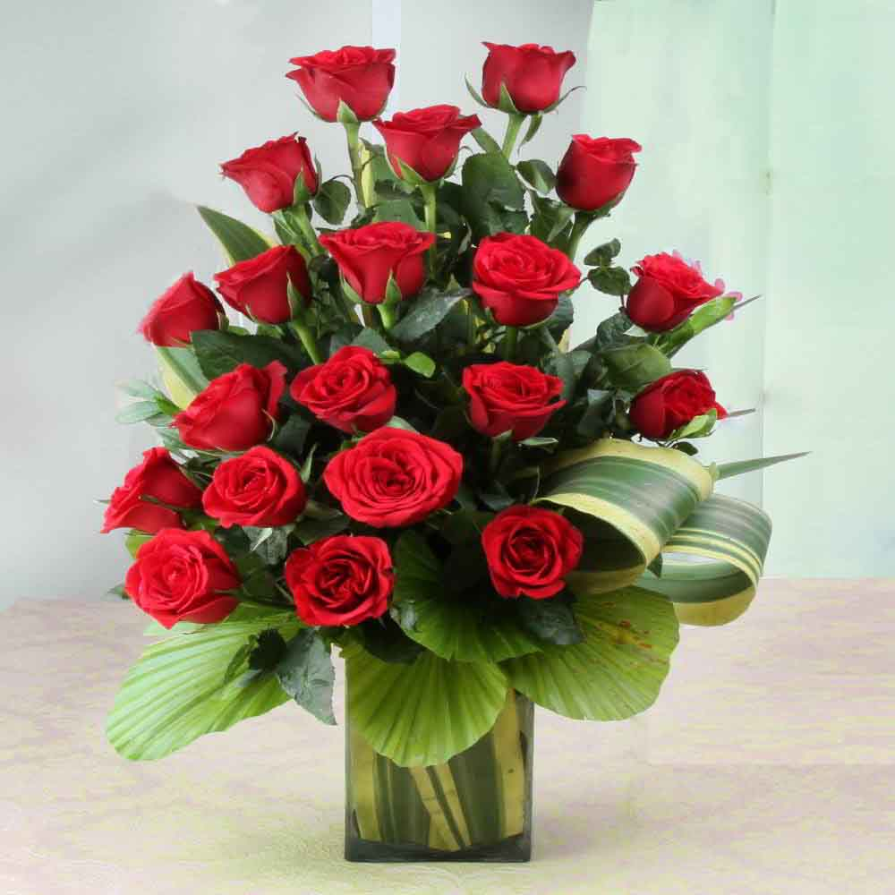 Fresh Flowers-Ravishing Twenty Red Roses in Glass Vase
