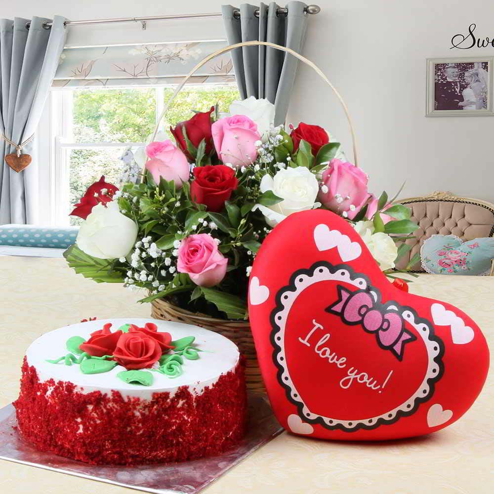Red Velvet Cake and Red Heart Small Cushion and Roses Arrangement