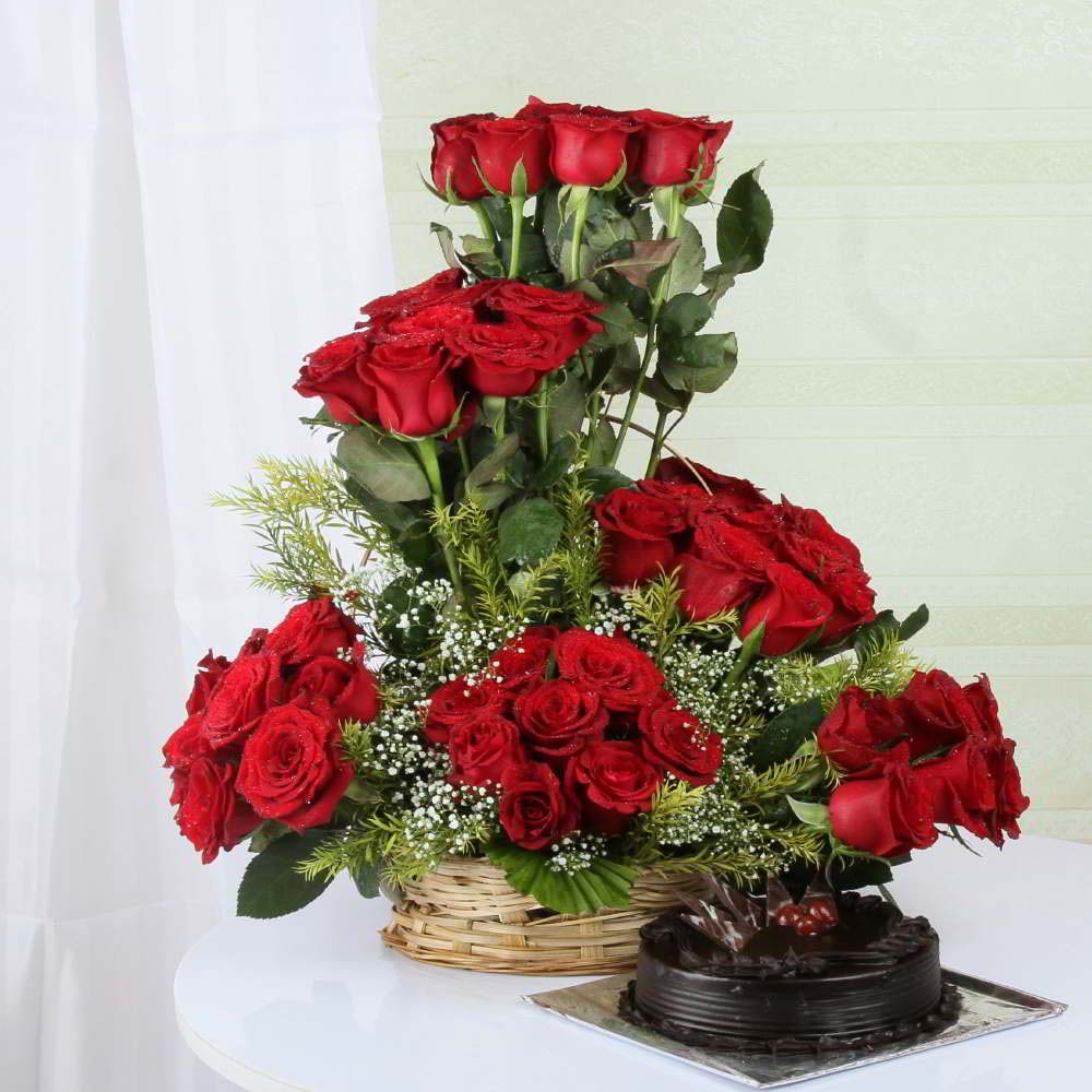 Dark Chocolate Cake with Exotic Roses Arrangement