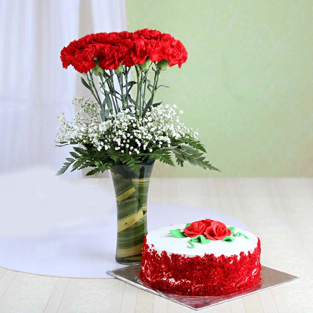 Flowers & Cakes-Red Velvet Cake with Red Carnation in Vase