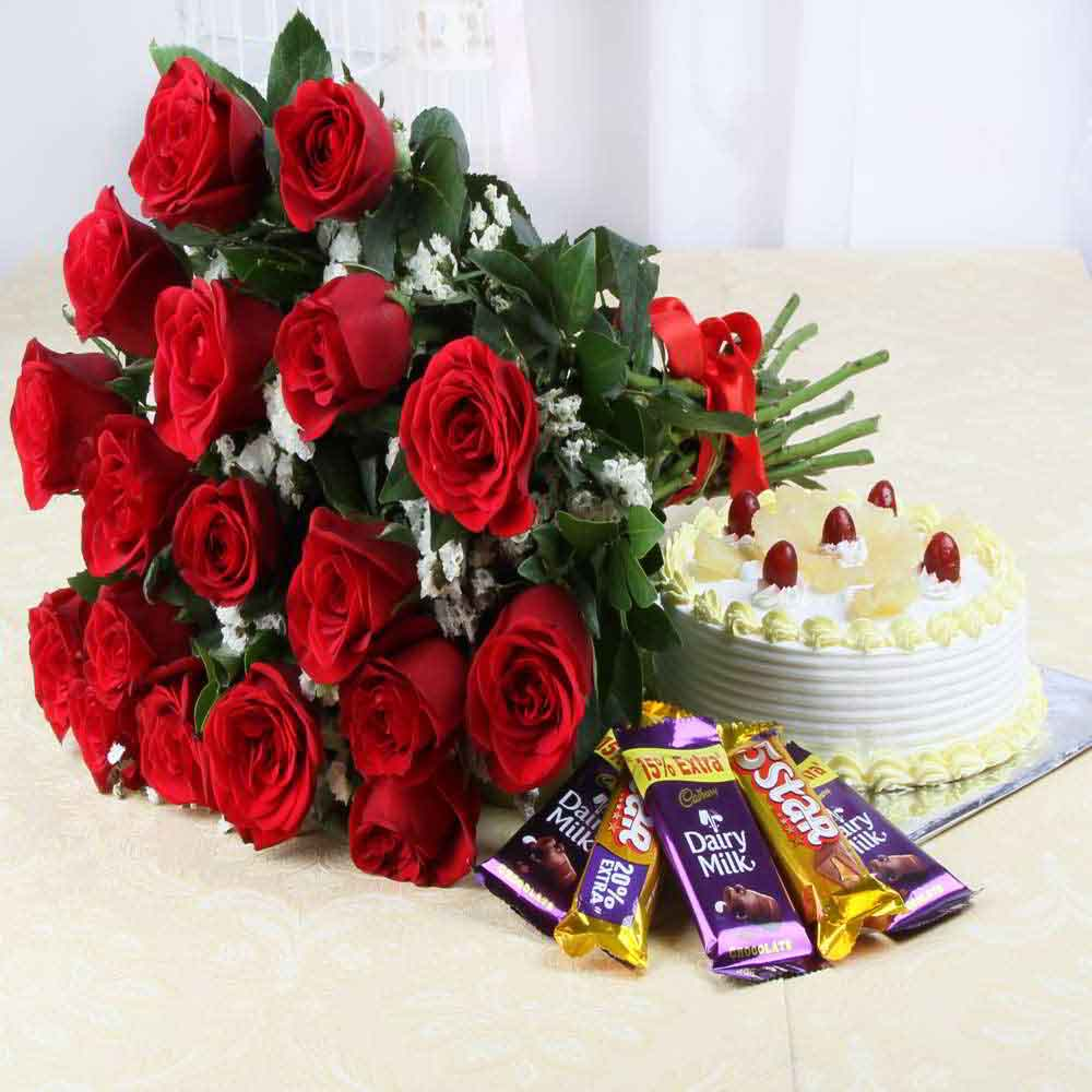 Flowers & Cakes-Pineapple Cake and Red Roses with Assorted Chocolate