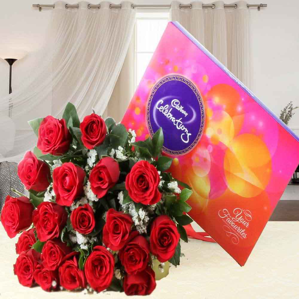 Flowers & Chocolates-Red Roses Bouquet with Cadbury Celebration Chocolate Pack