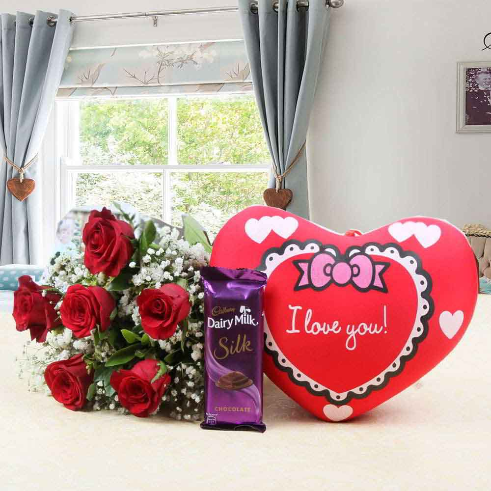 Flowers & Chocolates-Red Roses and Heart Small Cushion with Cadbury Dairy Milk Silk