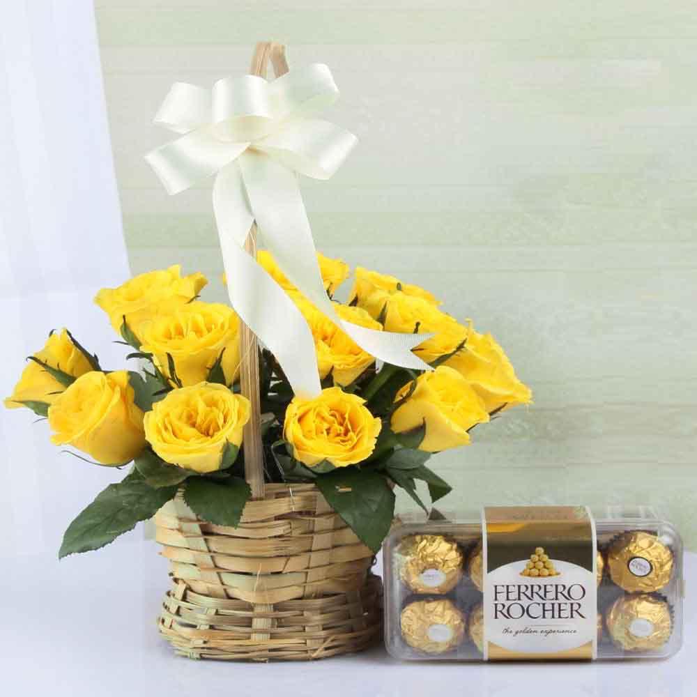 Flowers & Chocolates-Amazing Yellow Roses with Ferrero Rocher Box