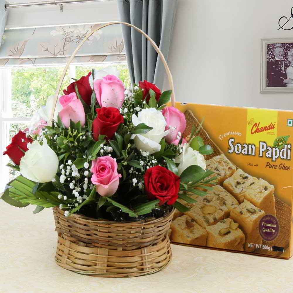 Flowers & Sweets-Soan Papdi Sweet with Roses Arrangement