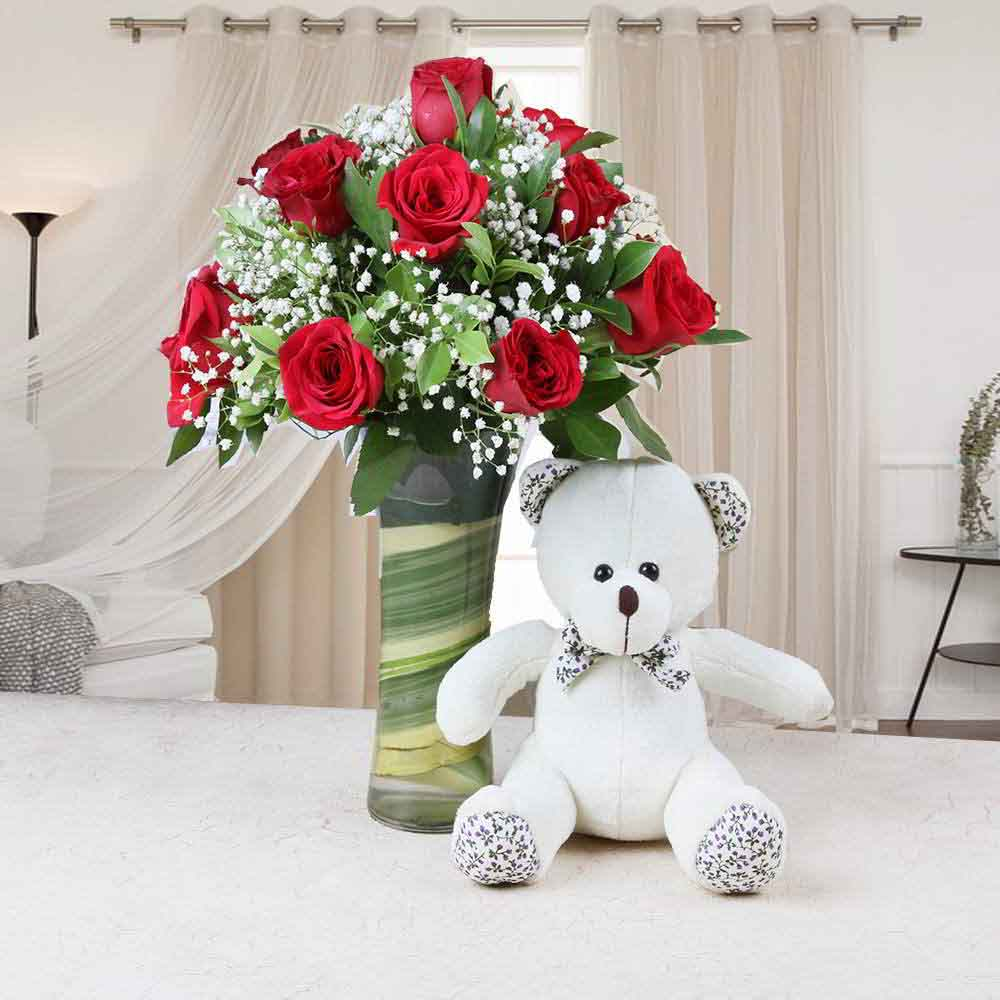 Soft Toy Hampers-Glass Vase of Red Roses with Teddy Bear