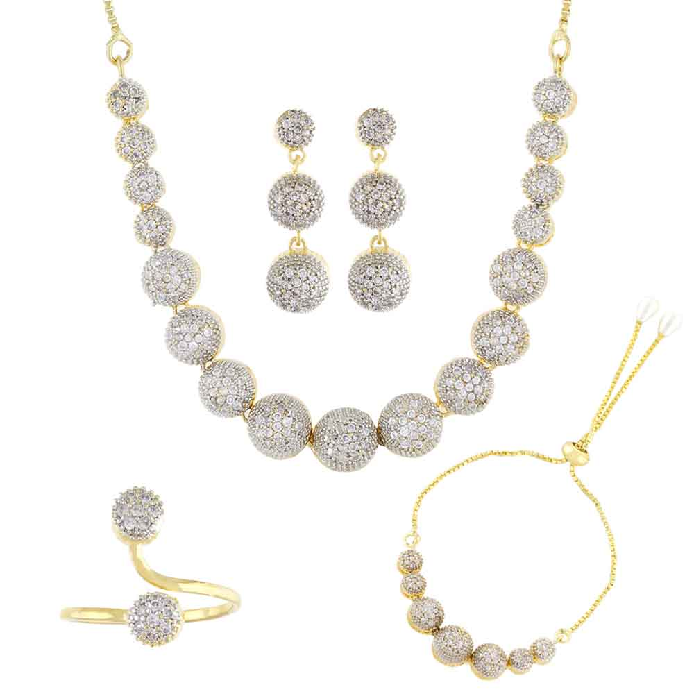 Cz Necklace Set With Finger Ring & Bracelet