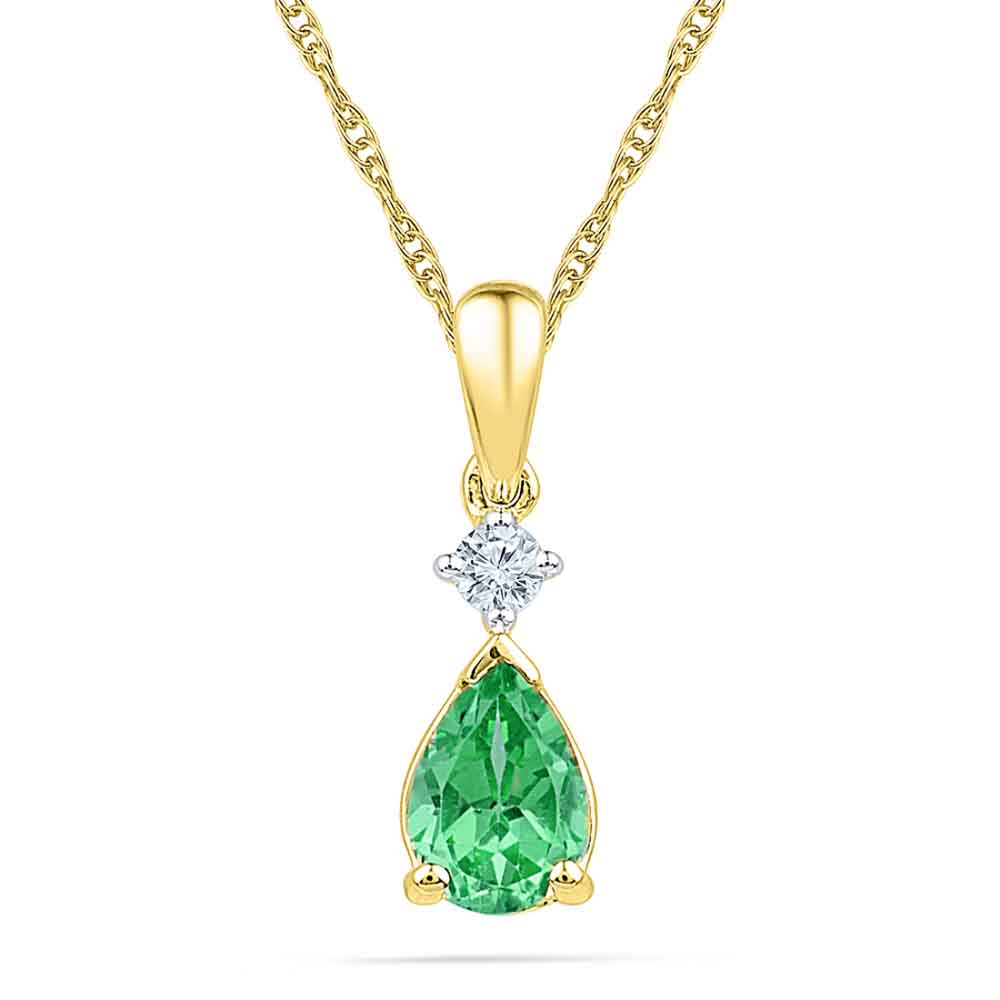 Emerald With Diamond Pendant