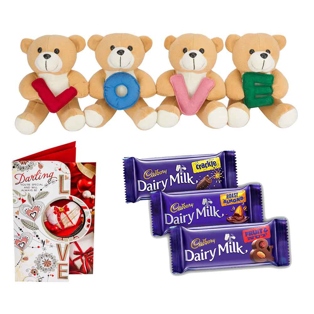 Set of 3 Cadburys chocolates with Stuffed Plush Heart