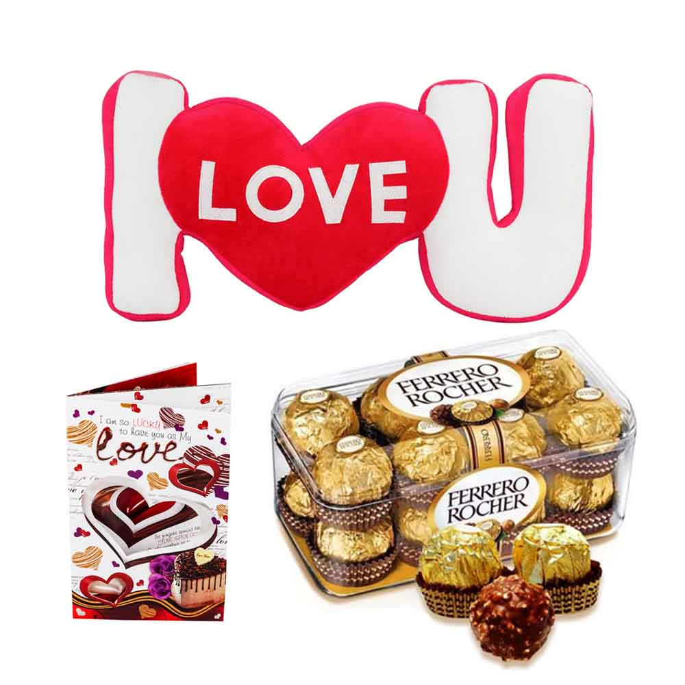 Ferero Rocher with I Love U Stuffed Pillow