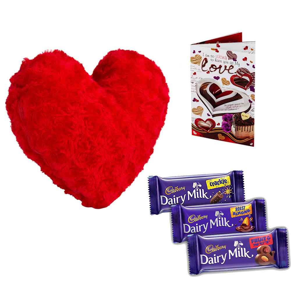 Set of 3 Cadburys chocolates with stuffed Velvety Heart