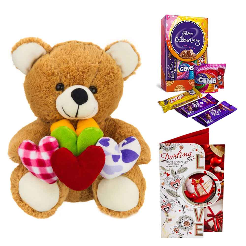 Cadburys Celebrations with Bear holding hearts