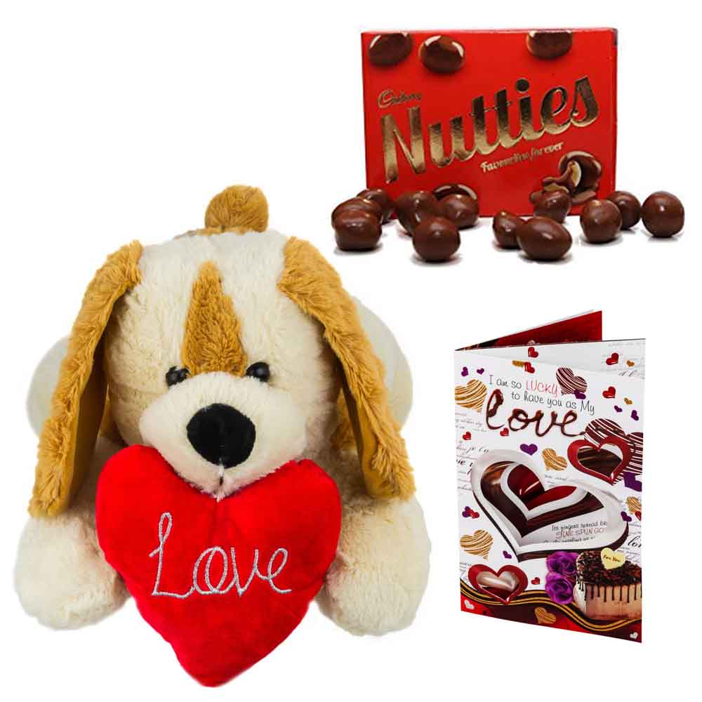 Cadburys Nutties with Cuddly Dog holding heart